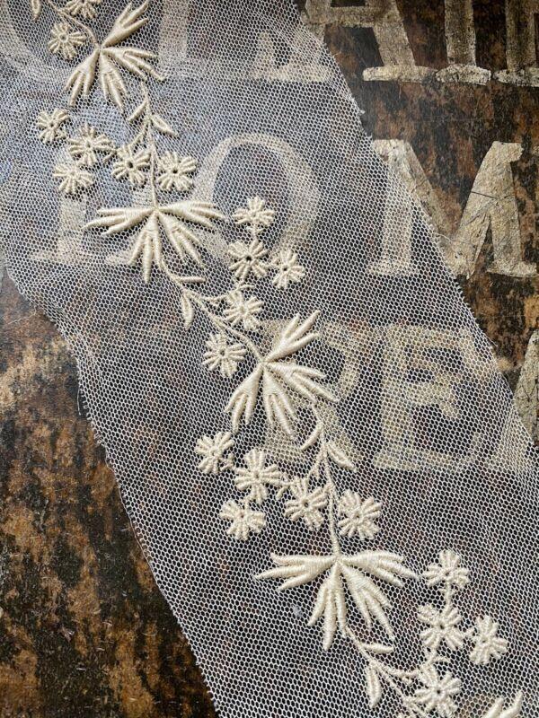 "Antique Edwardian Delicate Floral Vine Pattern Embroidered Net Lace Trim 4 x 37"""