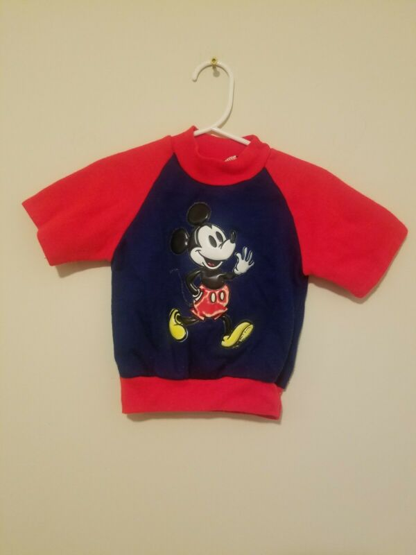 Vintage 1970s Mickey Mouse Short Sleeve Shirt Puffy Size 4