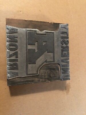 Vintage University Arizona State Seal Crest Letterpress Print Block Printer