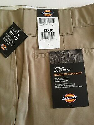 Men's Dickies REGULAR STRAIGHT Work Pants Khaki 32 X 30 New LIGHTWEIGHT POPLIN Poplin Work Pants