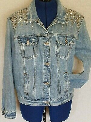 Abercrombie Fitch Womens Size Medium Jacket Denim Jean Distressed Studded Bling