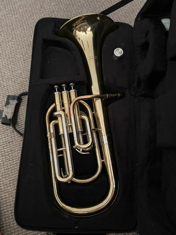 Elkhart Tenor Horn Eb Brass Instrument With Carry Case, 100th Edition