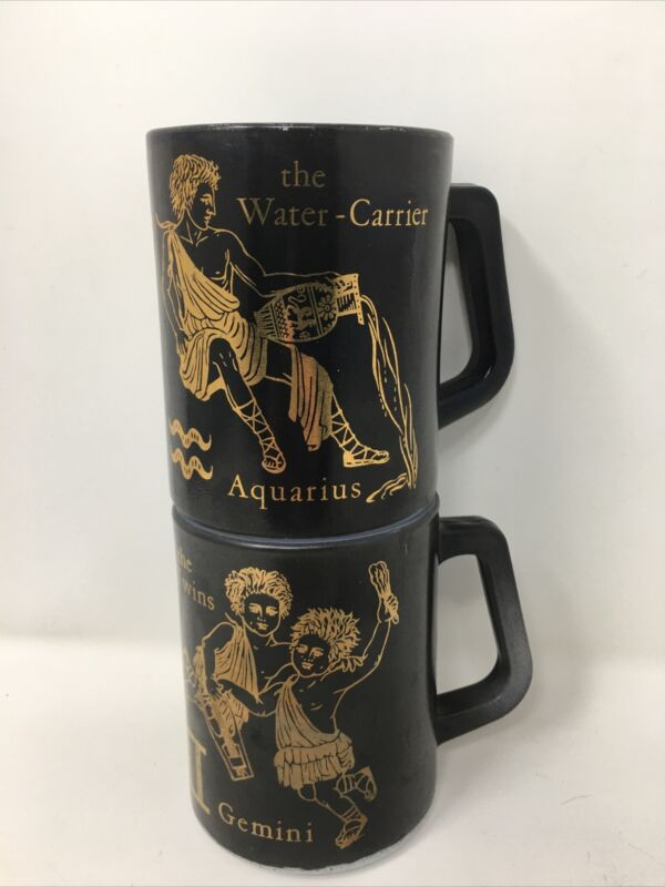 2 Astrology Mugs GEMINI & AQUARIUS Milk Glass Federal Zodiac Black Gold Vintage