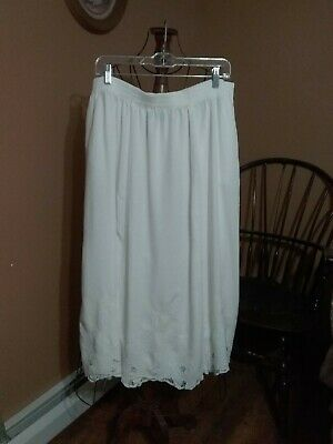 Size 2X Jane Ashley Long A-line Skirt White Embroidered Hemline With Cut Outs Spring Embroidered Skirt