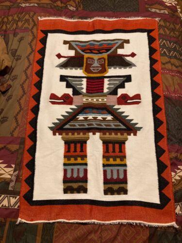"""VTG South American Blanket Rug 36x24"""" Wall Hang Wool Tapestry."""