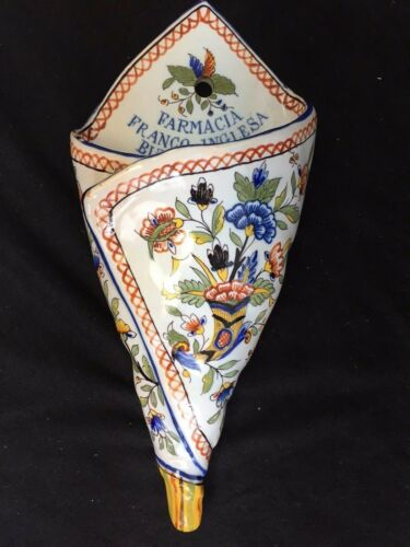 ANTIQUE WALL POCKET FLOWER VASE OLD FAIENCE  FRENCH ENGLISH PHARMACY BUENO AIRES