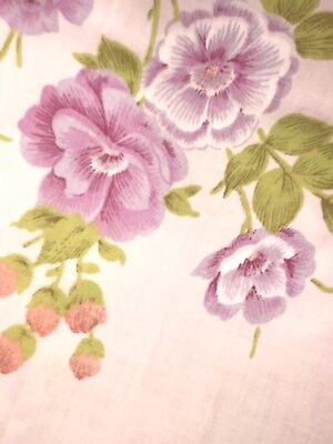 Vintage Pink Floral Twin Flat Sheet Good Condition MCM Mid Century Linen