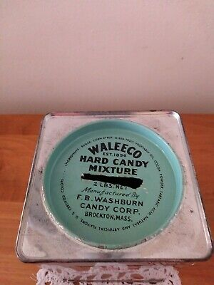 Vintage Waleeco Winter Scene Hard Candy Mix Tin mfg. F.B. Washburn Candy Co