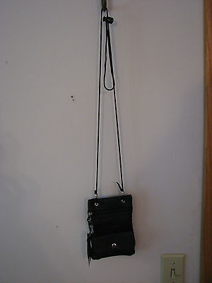 - TRENDY CELL PHONE CROSS BODY BLACK LEATHER PURSE BAG WITH 4 POCKETS