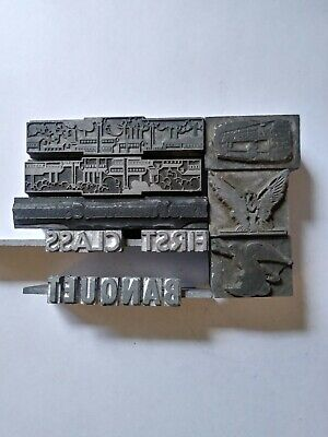 8 Vintage Letterpress Metal Type Printing Blocks Eagle Factory Bus Banquet..