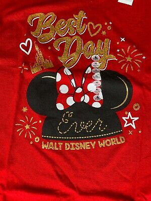 Disney Park Best Day Ever Walt Disney World Minnie Glitter Youth XL T (Best Disney World Park)