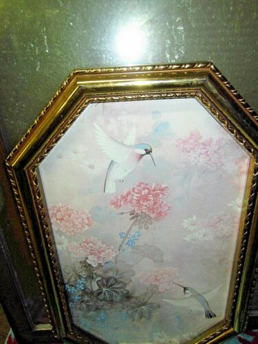 1984 Syroco Homco Framed Picture - Hummingbirds -Gold Octagon Frame 22.5 x 14.5