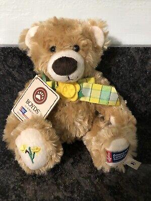 NEW Boyds Bear American Cancer Society Daffodil Days Ray O. Hope  Soft Boy Bear! Boyds Soft Bear