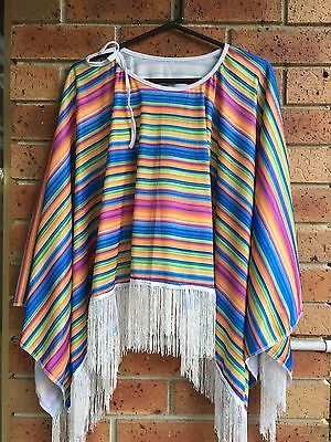 MEXICAN PONCHO Costume Wild West Cowboy Party Adult Bandit Dress Up  ()