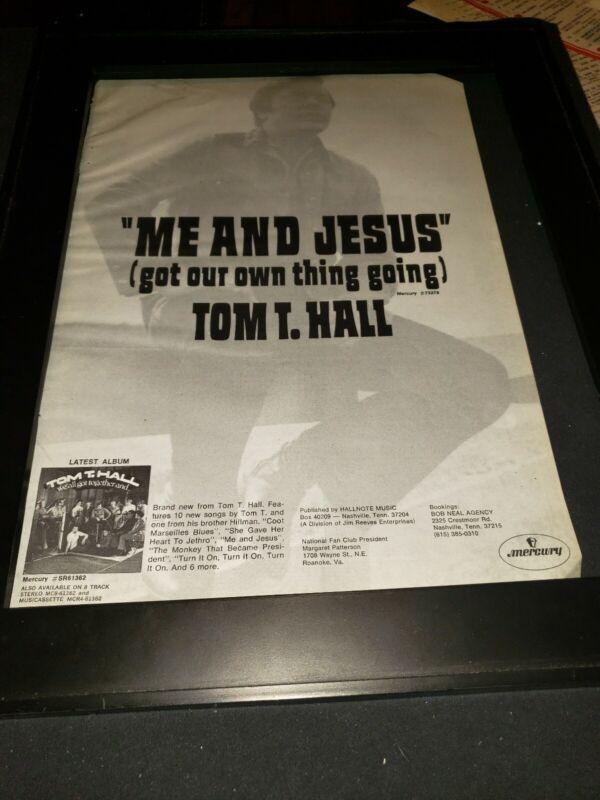 Tom T Hall Me And Jesus Rare Original Promo Poster Ad Framed