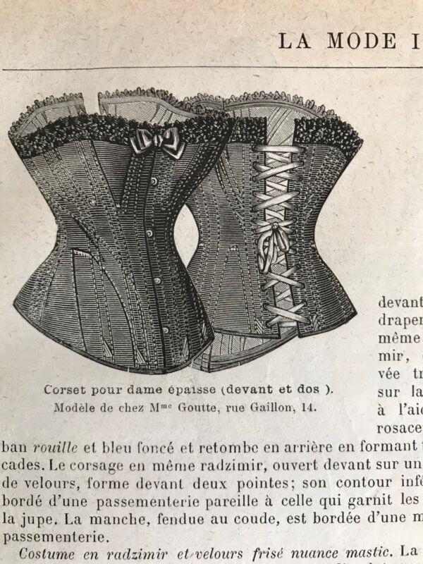 MODE ILLUSTREE SEWING PATTERN Apr 19,1885  CORSET LARGE SIZE, English wool dress
