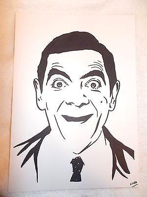 A4 Black Ink Marker Pen Sketch Actor Rowan Atkinson as Mr Bean