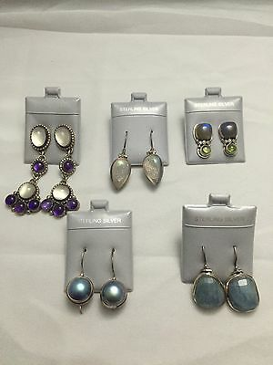 Lot of (5) .925 Sterling Silver Italian Druzy, Pearl & Moonstone Design Earrings
