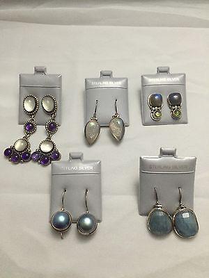Heavy 925 Sterling Silver Italian Druzy Design Earring Wholesale Lot 5 Pairs