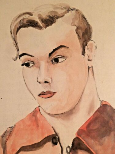 Antique watercolor drawing of Man with Pink Shirt unsigned Mid-Century