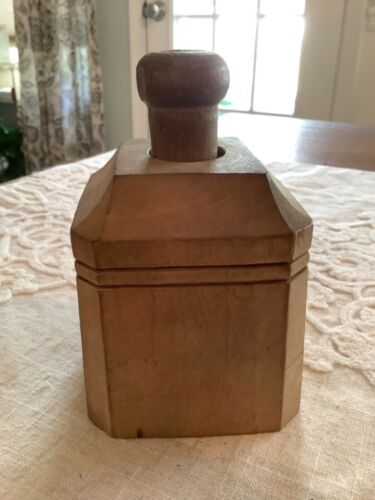 Vintage Primitive Octagon Butter Mold Press Swan Unique Rare Shape