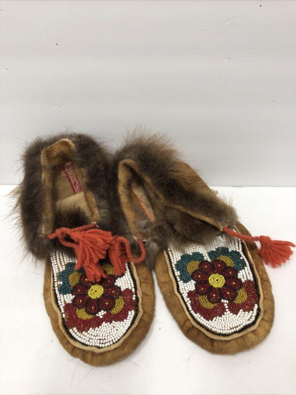 Beautiful Vintage Alaskan Native Hand Made Leather & Beaded Moccasins Eskimo