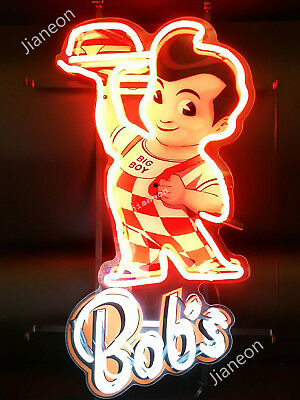New Bobs Big Boy Restaurant Diner Business Sign Real Neon Sign Beer Bar Light