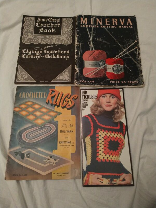 Vintage Knitting Crochet Book Lot Of 4 Anne Orr Minerva Cats & Clark Lily Mills