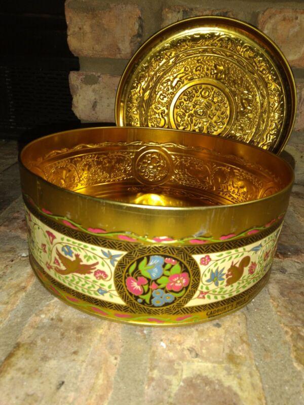 Vintage Floral Tin Gold Tone