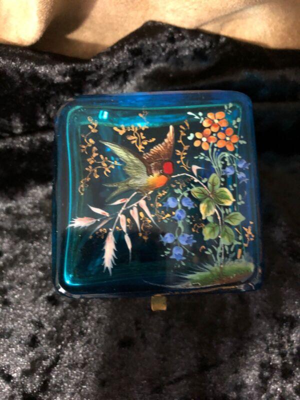 Antique Bohemian Moser Glass Casket Box - Hand painted blue - bird and flowers