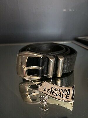 Versace Medusa Vintage 90's Era Silver Leather Size: 34 - 85 Deadstock W Tags
