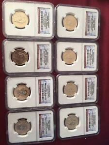 Lot of 8 USA presidential Ngc graded dollars
