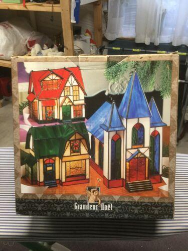 Grandeur Noel Stained Glass Village Set 3 Piece