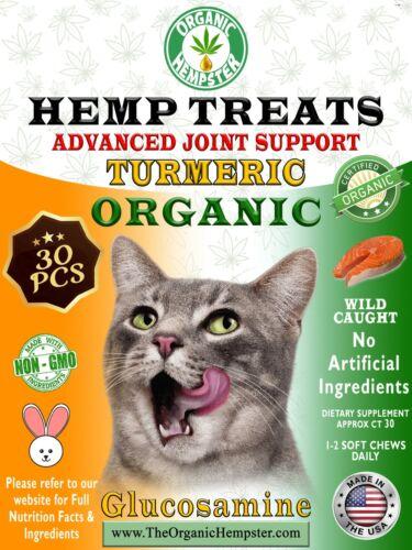 Organic Hemp Treats for Cats, Anxiety Relief, Wild-Caught, Salmon, 30 Soft Chews