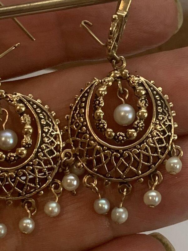 Antique 14K Yellow Gold Dangling Pearls Earrings