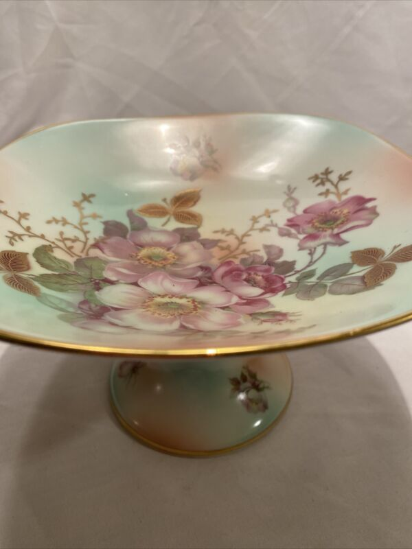 Bavaria Schumann Arzberg Germany Wild Rose Square Pedestal Dish Compote