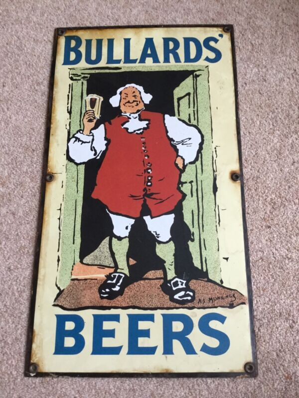Genuine Vintage Bullards Beer Pictorial Enamel pub sign