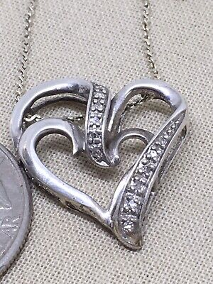 """18"""" Sterling Silver Double Heart Diamond Accent Heart Necklace 3.7g"""