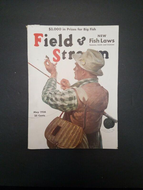 May 1936 Field and Stream Magazine - Arizona Wolf Hunting - Muskies - Bullheads