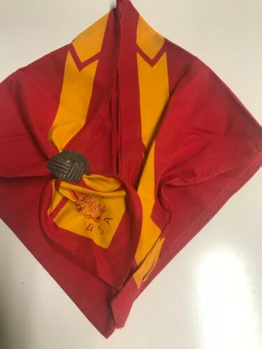 Vintage-Red Boy Scouts of America Neckerchief with Eagle Slide-BSA-Uniform (B)