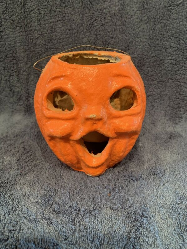 "vintage paper mache pumpkin Two Sided Original Inserts Fragile 5"""