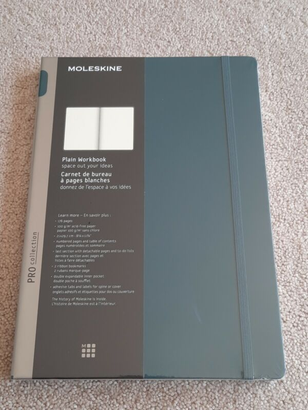Moleskine Pro Collection Workbook, A4, Plain, Tide Green, Hard Cover (12 X 8.5)