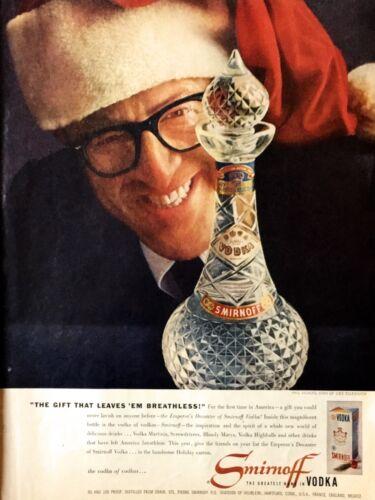 1956 Smirnoff Vodka Phil Silvers Bottle Santa Cap Christmas Color Photo Print Ad