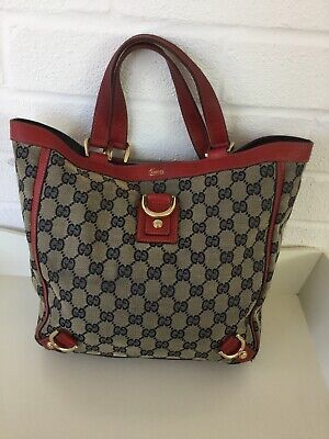 Genuine vintage Gucci GG leather/cloth bag, large tote,excellent used condition