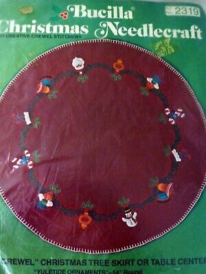 "NEW Vintage Bucilla Christmas Red Felt 54"" Tree Skirt Yuletide Ornaments #2319"
