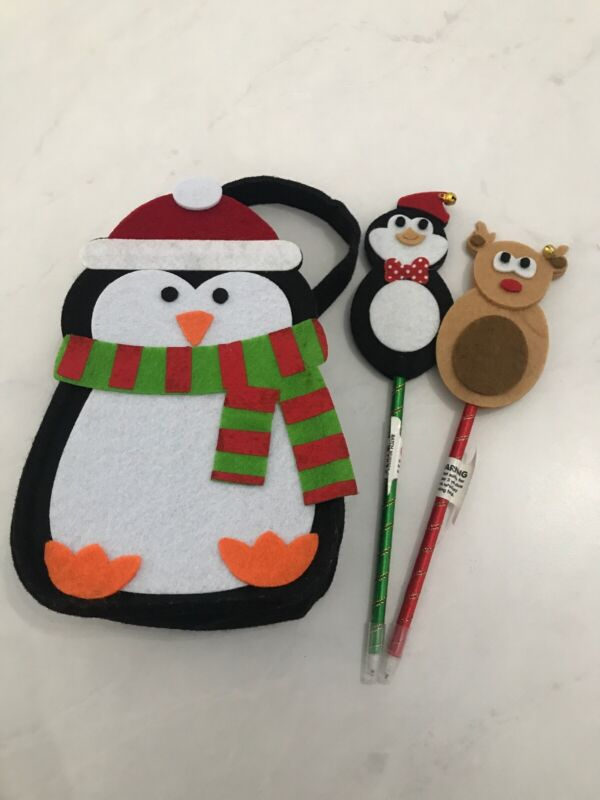 CHRISTMAS+PENGIUN+BAG+AND+TWO+XMAS+PENS+KIDS+STOCKING+FILLER+GIFT+STATIONARY+TOY