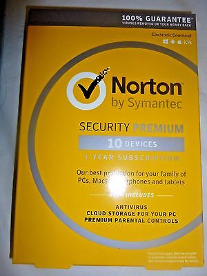 Norton Security Premium    10 Devices  Product Key Card  1 Year Free Shipping