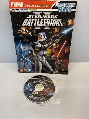Original Microsoft Xbox Star Wars Battlefront II 2 Disc W/ PRIMA Guide TESTED