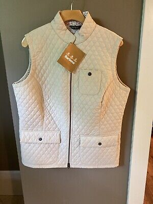 NWT Barbour Brush Gilet $149 Quilted Women's Vest Size UK18 US 14 XL Pearl Cream