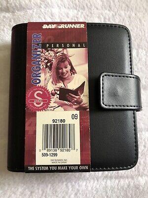 New Vintage 4.5x5.5 Spiral Personal Day Runner Black Address Planner Organizer